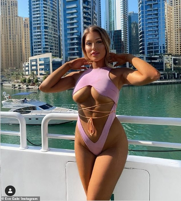 Eye-popping: Eve Gale continued to set pulses racing as she showcased plenty of underboob while clad in an incredibly daring swimsuit on Wednesday