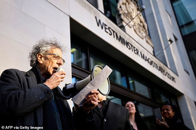 Piers Corbyn ramped up his campaign to end the 'Covid con' this morning as he arrived at his trial for allegedly breaching lockdown rules