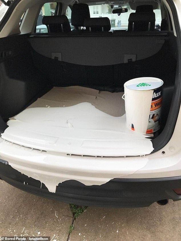 Disaster! In the US, a man showed what happened after a pint of paint that was not securely closed tipped over in his car
