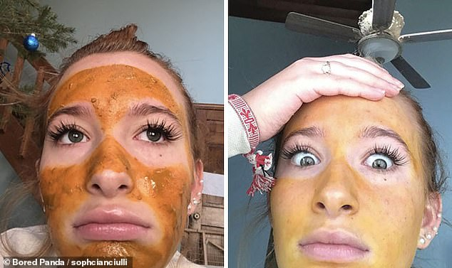 The Oompa Loompa look! This poor woman from Long Island, New York, got a bad surprise when her DIY face mask stained her face orange
