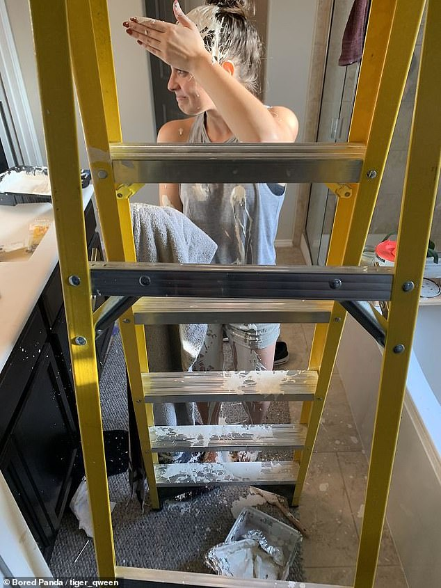 Splat! A US-based woman working on house renovations revealed she moved her ladder, which caused a pint of paint to splash all over her head and clothes