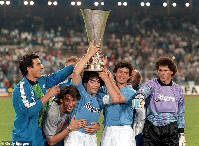 The Argentine icon's seven years in Italy brought two Italian championships and a UEFA Cup triumph (pictured), but citizens of the city are grateful for much more