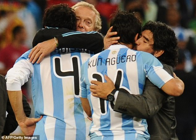 Aguero also played under Maradona (right) when he was manager of Argentina