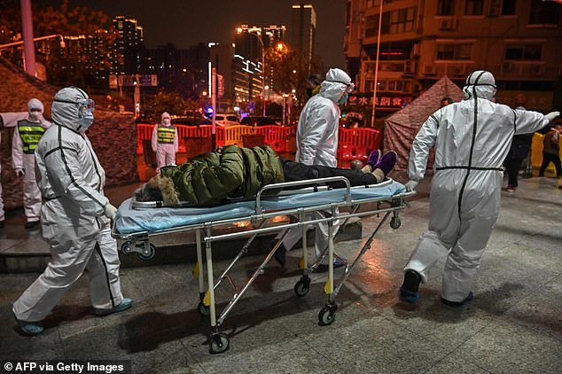 Chinese scientists examining the genetic code of coronavirus claim to have food evidence that suggests the virus did not originate in their country (file image, a Covid patient in Wuhan)
