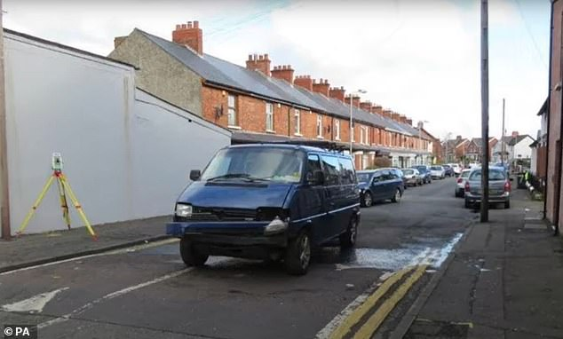 A picture shows damage to the van being driven by Adrian Ismay after the Semtex bomb