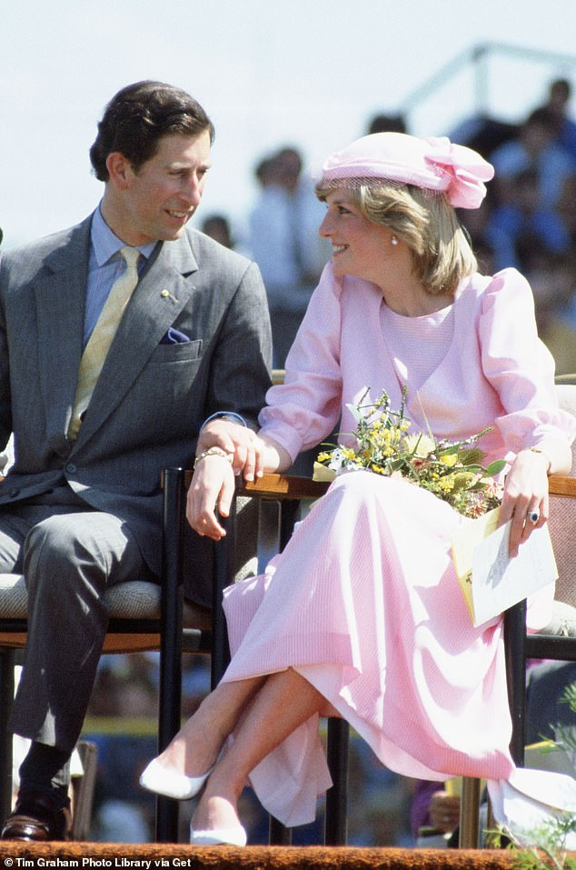 The Queen's former press secretary Dickie Arbiter told True Royalty TV that Princess Diana and Prince Charles were 'genuinely happy' during the early years of their marriage, and packed on the PDA during their 1983 tour of Australia (pictured)