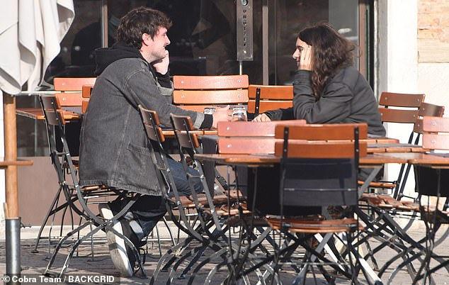 Quality moment: Josh Hutcherson shared an al fresco lunch and admired the Venetian landscape with his girlfriend Claudia Traisac on Friday