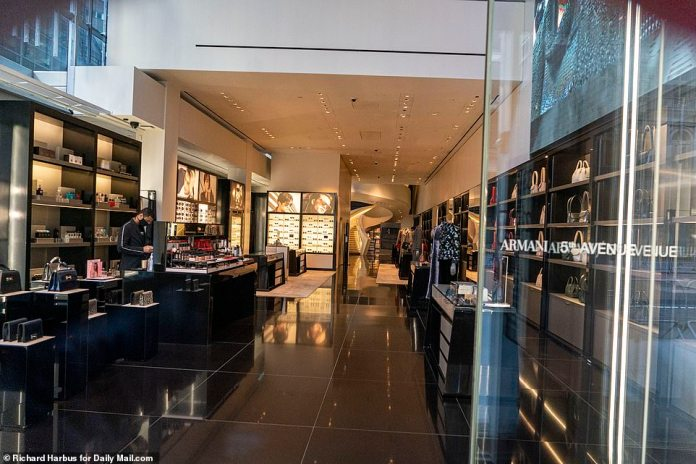 The Armani store was empty on Friday afternoon with hardly anyone on the streets