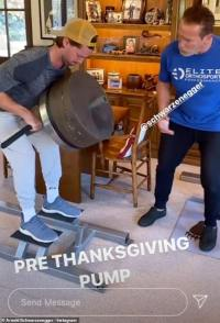 Patrick Schwarzenegger pumps some iron with his fit father Arnold before Thanksgiving dinner
