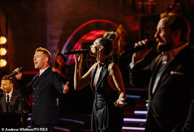 Give it all: Judge Britain's Got Talent appears in her element as she returns to her MisTeeq singing roots to help Gary listen to a song (pictured with Gary, Ronan and Alfie Boe)