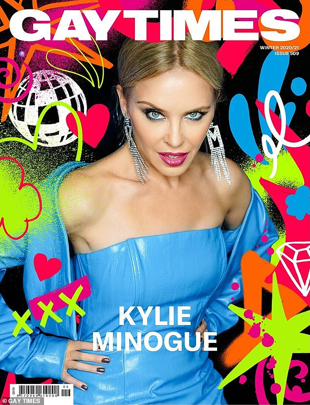 Blue beauty!  Kylie Minogue stunned on Gay Times magazine cover