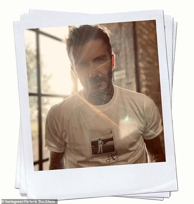 Wow:While David pulled a smouldering pose as he proudly showed off his designer t-shirt in a sunkissed snap
