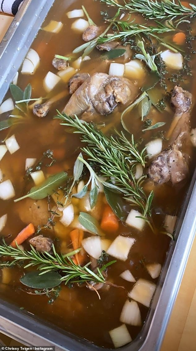 Cooking show: Chrissy also showcased the stew she appeared to be making