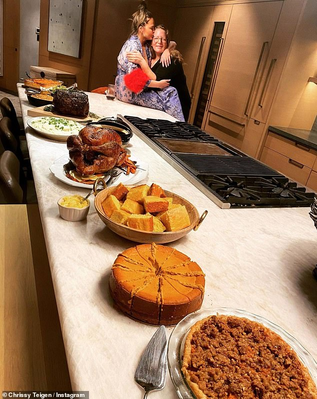 Wow!Chrissy also shared a snap of her delicious-looking Thanksgiving spread, which she revealed they hosted in their old home which is currently for sale