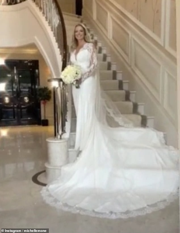 Fourth time lucky: Michelle revealed she had finally tied the knot with her billionaire beau on Saturday, after the COVID-19 pandemic forced her to postpone her wedding date thrice