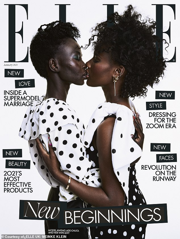 Powerful:Supermodel Aweng Ade-Chuol (left) kissed her new wife for the new ELLE UK magazine cover as the star spoke about backlash over her sexuality and her suicide attempt in a candid interview