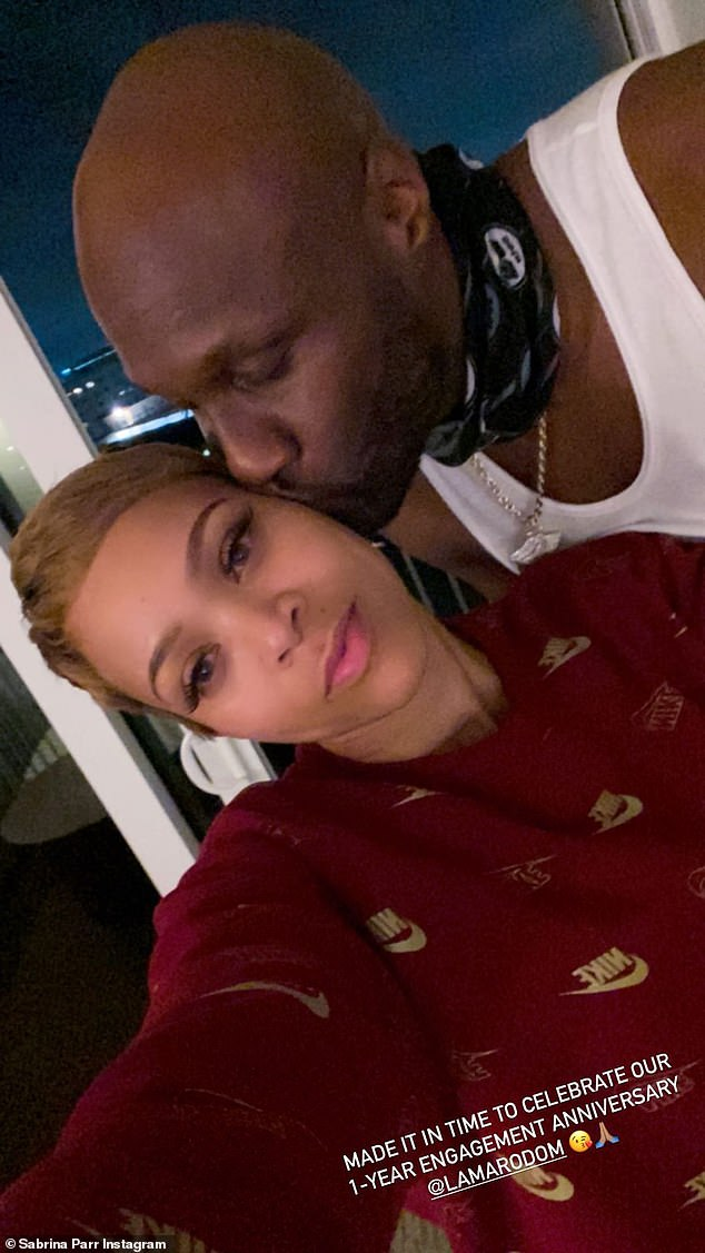 Back: Despite the engagement being canceled on Nov. 5 in an Instagram statement, Sabrina appeared to make a 180 as she went from speaking publicly about the breakup to gushing over Odom on their engagement anniversary;  photographed on November 11