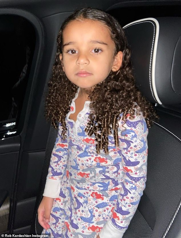 Daddy's girl: Rob Kardashianwas ever the doting dad Saturday, as he took to Instagram with a sweet photo of daughter Dream in her mermaid-printed pajamas from a nighttime drive with his cute passenger