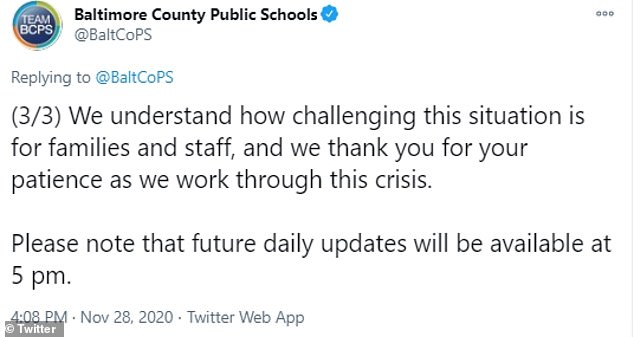 Baltimore County Public Schools revealed that a ransomeware attack had forced schools to be closed with online classes as a result
