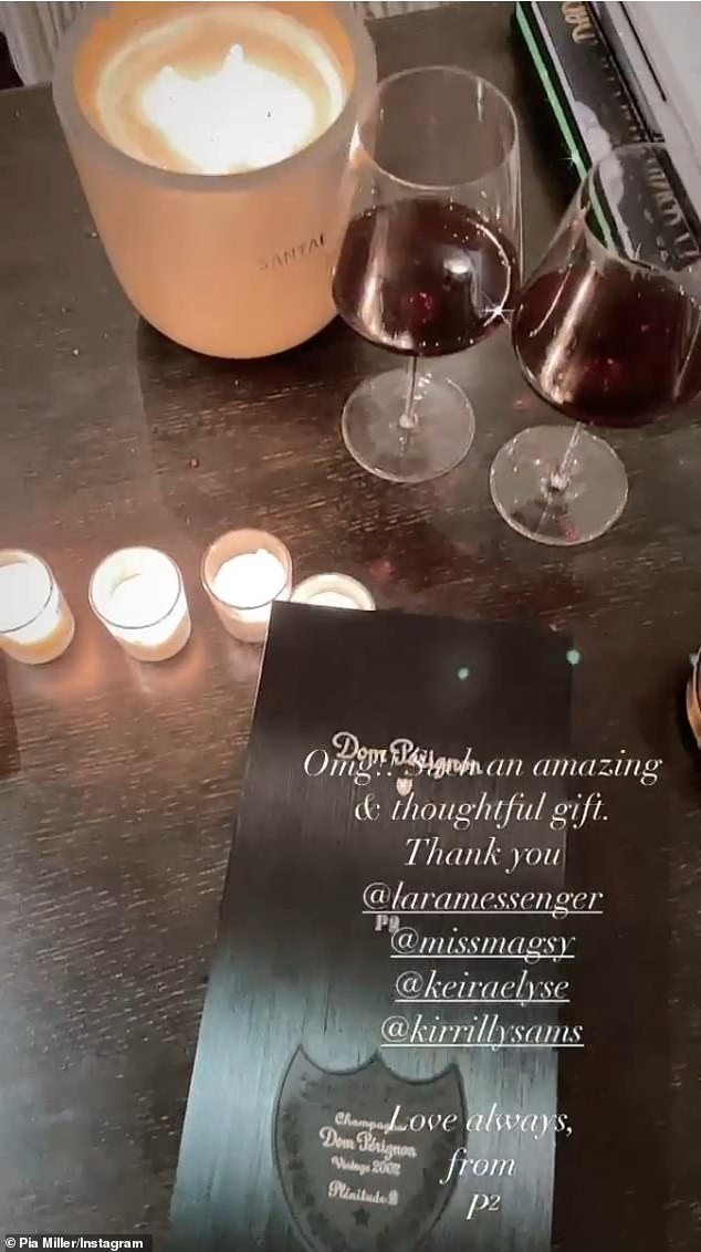 Fancy: 'Omg, such an amazing and thoughtful gift. Thank you!' she captioned an Instagram Stories video clip of the bottle