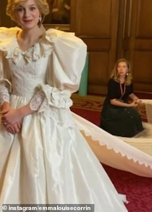 Bride-to-be: In jovial clips she has a wedding dress fitting in preparation for the iconic marriage scenes