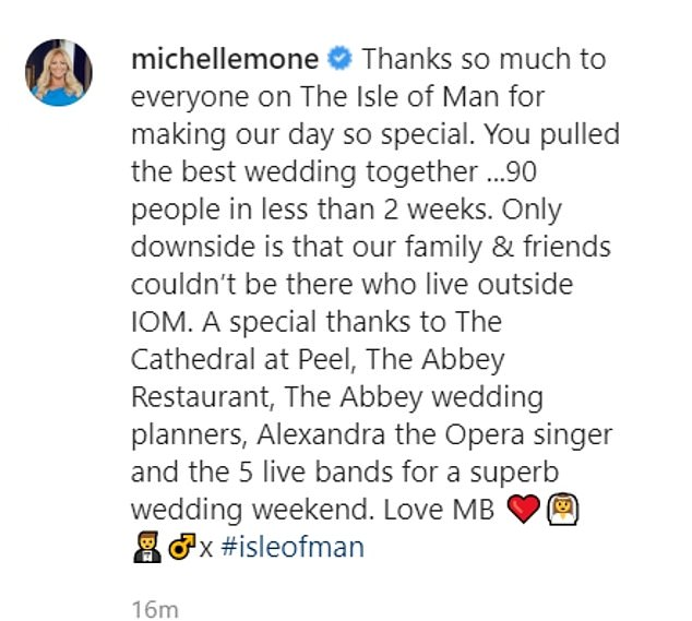 Going to the chapel: Michelle thanked the people of the Isle of Man for helping put her dream wedding together