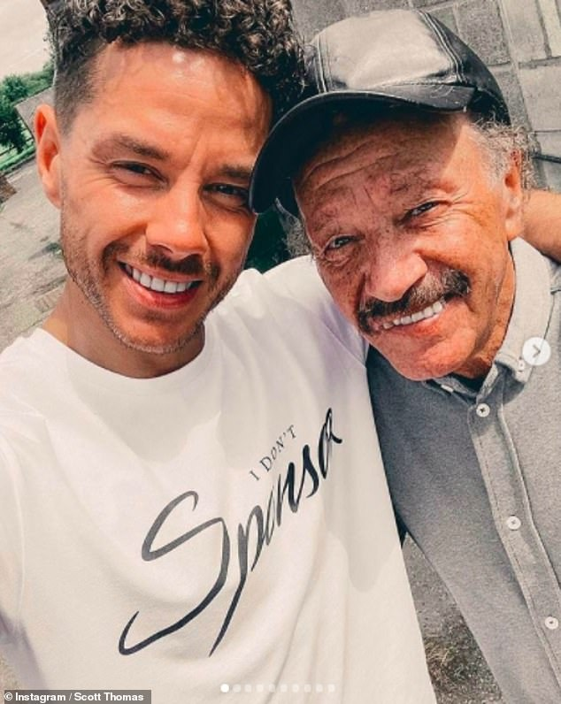 'So proud':Scott Thomas also made an emotional tribute to his late father Dougie James after his death at the age of 72, calling the Manchester legend 'the epitome of a star'