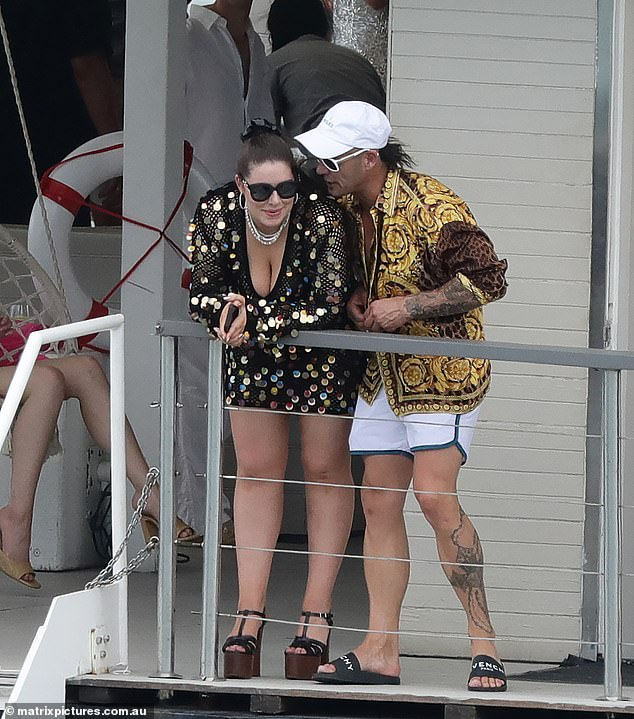 Friends: At the other end of the pecking order, former bikie associate Mark Judge (right) - who has formed an unlikely friendship with Francesca in recent months - was in attendance alongside a woman believed to be his girlfriend