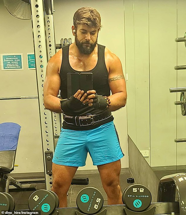 Unit: Former Married At First Sight star Dino Hira, 36, (pictured) flaunted his bulging muscles at the gym on Monday, after shocking fans with his incredible transformation earlier this year