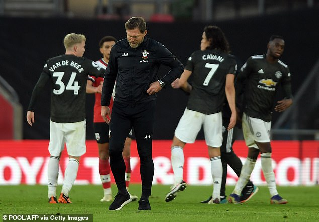 Ralph Hasenhuttl shows discouragement after his Southampton side ceded a two-goal lead