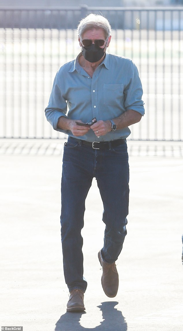 Harrison Ford, 78, looks every bit the Hollywood legend as stops by the Hawthorne Airport