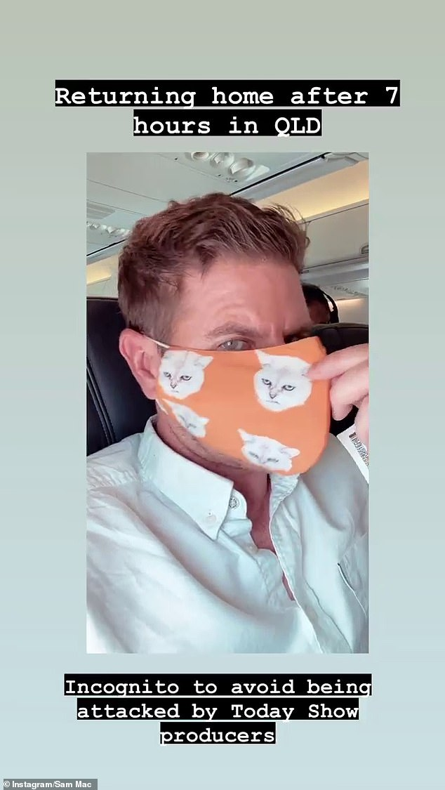Watch out! Poking fun of Sunrise's rivalry with Today further, Sam joked he was going 'incognito' in a face mask 'to avoid being attacked by Today Show producers'