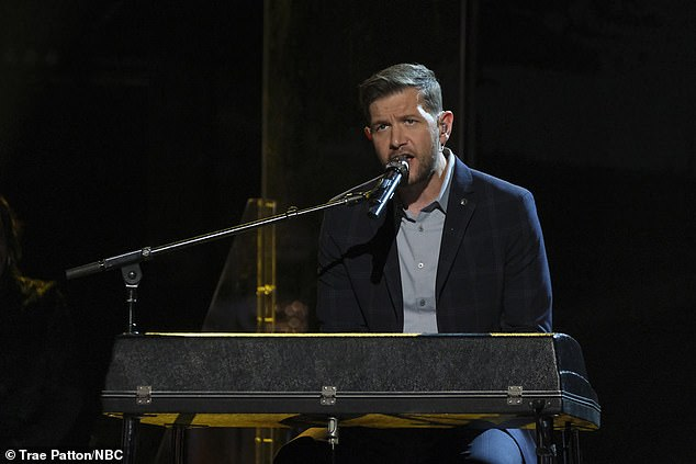 Piano man: Sid Kingsley played piano while singing the Leon Bridges song Beyond