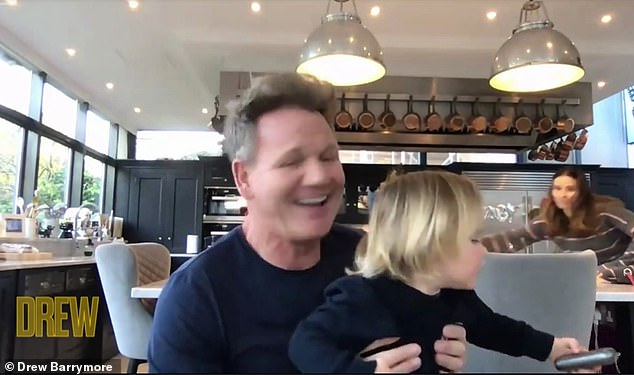 Aww: The chef, 54, made a guest appearance on The Drew Barrymore show on Tuesday, and proudly showed off his baby boy as he discussed parenting