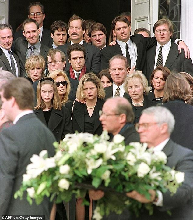 Heartbreaking loss: Kathie recalled seeing Michael's mother Ethel Kennedy at the bedside after the skiing accident. They are pictured leaving the funeral as a family