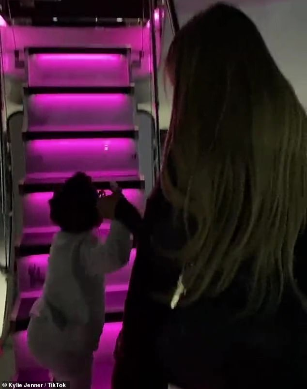 On the go:Her latest post comes a day after she swung by Instagram and Tik Tok to show herself boarding her private jet with her two-year-old daughter Stormi