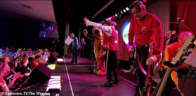 Unexpected: The terrifying moment occurred during a Wiggles reunion concert at Castle Hill RSL in Sydney. Pictured on the far right