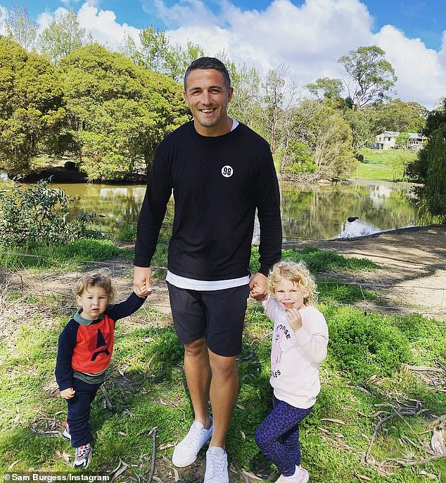 Big move:Sam Burgess has reportedly set up camp in Bowral, NSW, to spend more time with his young children;Billy, one, and daughter, Poppy, three