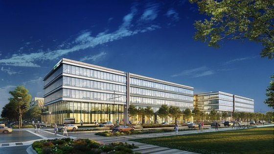 Hewlett Packard Enterprise has said it is moving its global headquarters from California to Texas.  The company is building a 440,000 square meter campus in two five-story buildings, according to the architect's drawing.  It is scheduled for completion in 2022