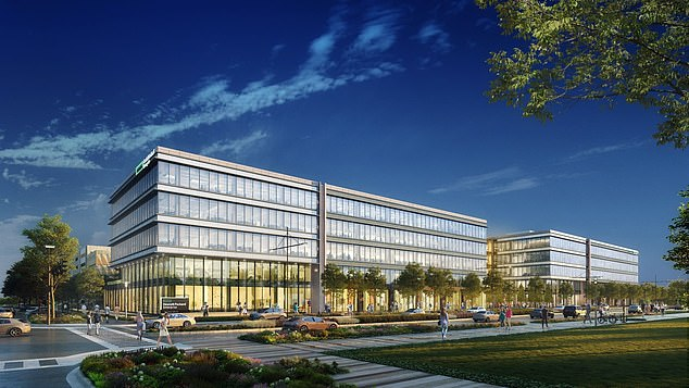 Hewlett Packard Enterprise announced this week that it is moving its global headquarters from California to Texas.  The company is building a 440,000 square foot campus in two five-story buildings, architectural drawing shown.  It should be completed in 2022