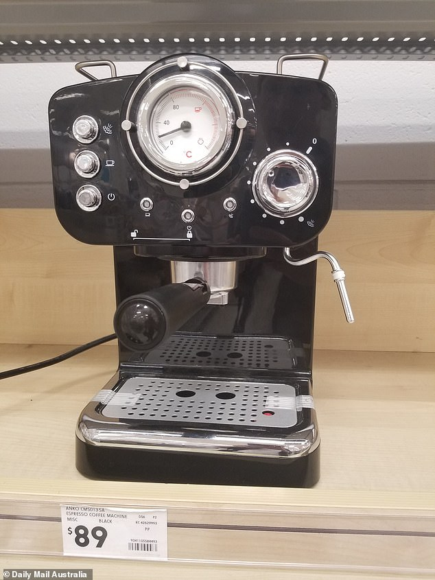Kmart is only able to offer low prices to shoppers by sourcing goods from China including this $89 coffee machine