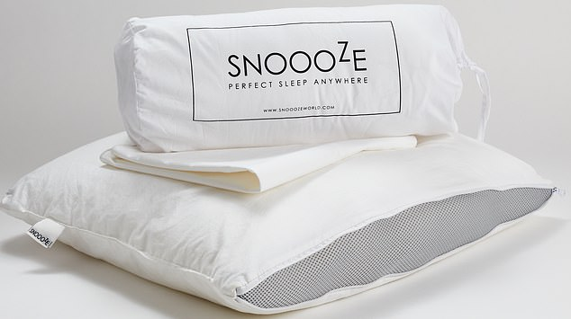 The Snoooze pillow, shown, is available in two machine washable sizes