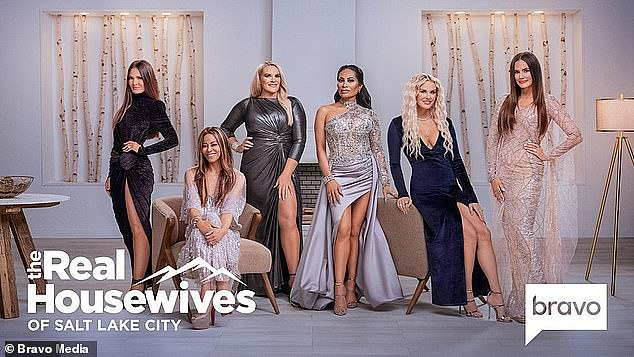 Meet the housewives: The current season of Real Housewives of Salt Lake City is currently airing on Bravo and available to stream in Australia on Hayu. Pictured left to right is Lisa Barlow, Mary Crosby, Heather Gay, Jen Shah, Whitney Rose and Meredith Marks