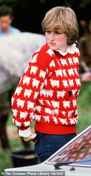 """Famous: Warm & Wonderful have released the jumper again which is available to pre-order for $295 (£250) on American fashion brand Rowing Blazers under the name of 'women's original """"Diana"""" sheep sweater' (Diana pictured in 1981)"""