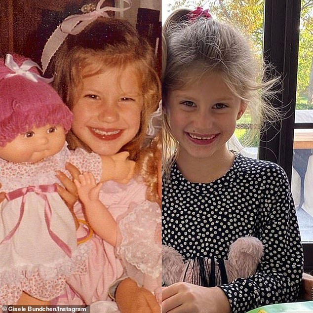 Mini me: Gisele and Vivian share an uncanny resemblance as Gisele shared a side by side shot of she and her daughter last year