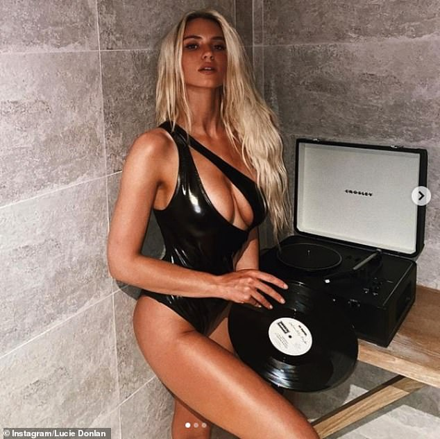 Love Island's Lucie Donlan sets pulses raising in deeply plunging leather-look swimsuit