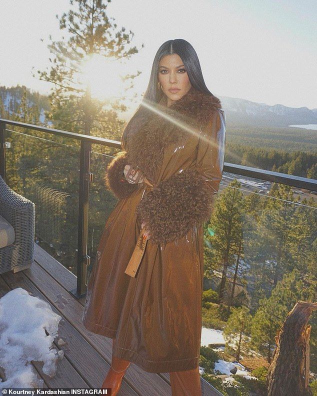 Girls only:Though its unclear exactly when they returned from their trip, Kourtney, Kim, 40, and Khloé Kardashian, 36, plus younger sisters Kendall, 25, and Kylie Jenner, 23, and momager Kris Jenner enjoyed a stay at a lush 15-acre estate in Lake Tahoe over the week; Kourtney pictured on Thursday