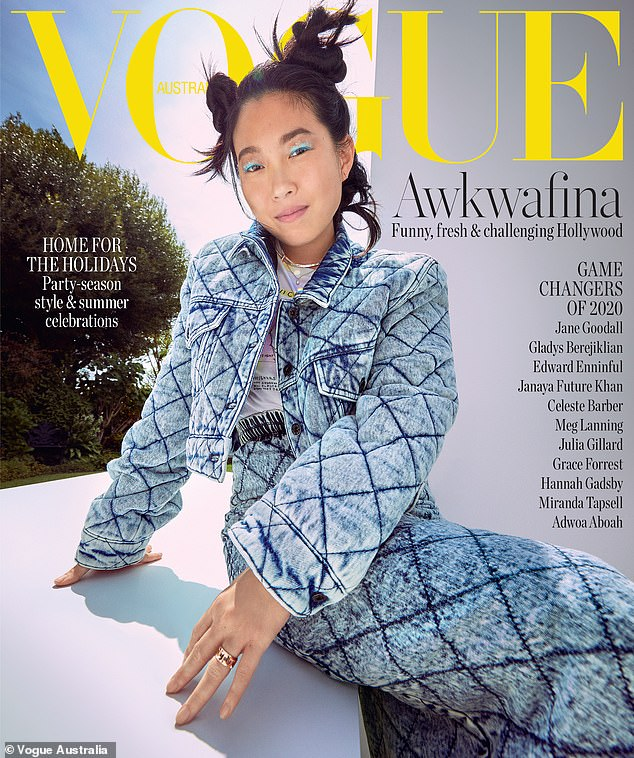 'More chills': In a new cover interview with Vogue Australia, Awkwafina, 32, reflected on becoming the first Asian American to win Best Actress at the Golden Globes in January