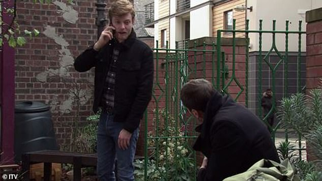 Hard times: Peter's brother Daniel Osbourne (Rob Mallard, pictured) is left startled when he finds him covered in blood in the Victoria Gardens, before he calls an ambulance
