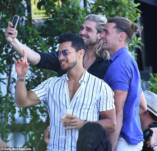 Selfie time: Fresh from Melbourne, Agostino 'Aggi' Guardiani (centre) posed for a selfie with Adam Todd (right) and Rudy El Kholti (left)